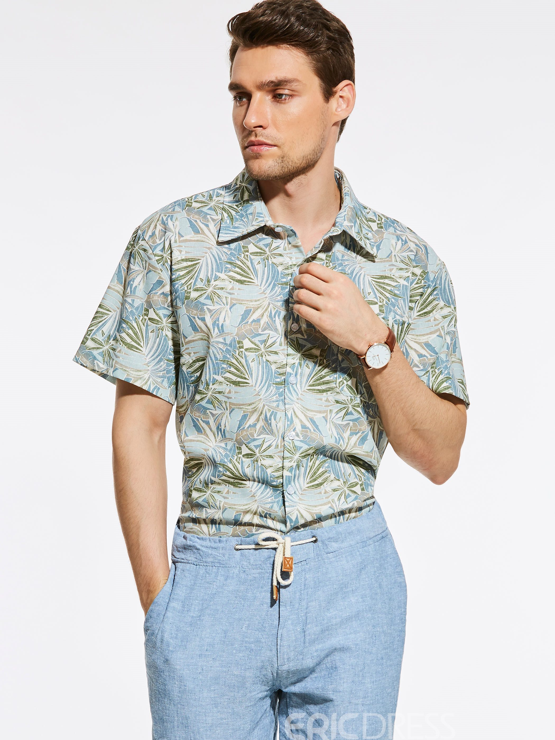Ericdress Loose Short Sleeve Print Vogue Casual Men's Shirt