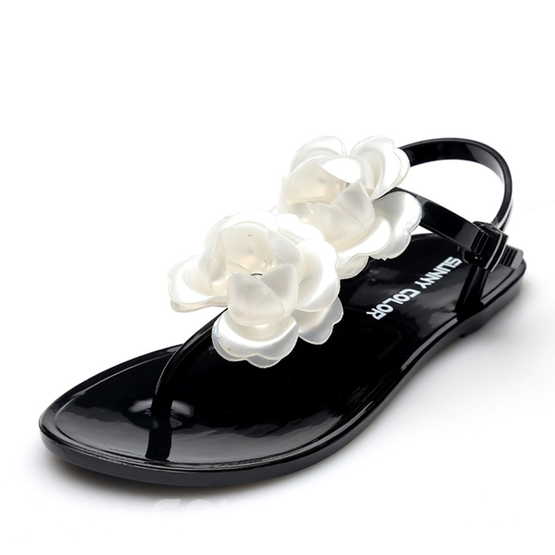 Ericdress Flower Decorated Thong Flat Sandals