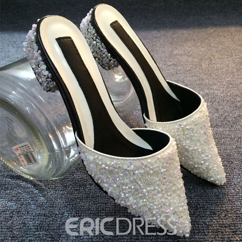 Ericdress Fashion Rhinestone Point Toe Mules Shoes