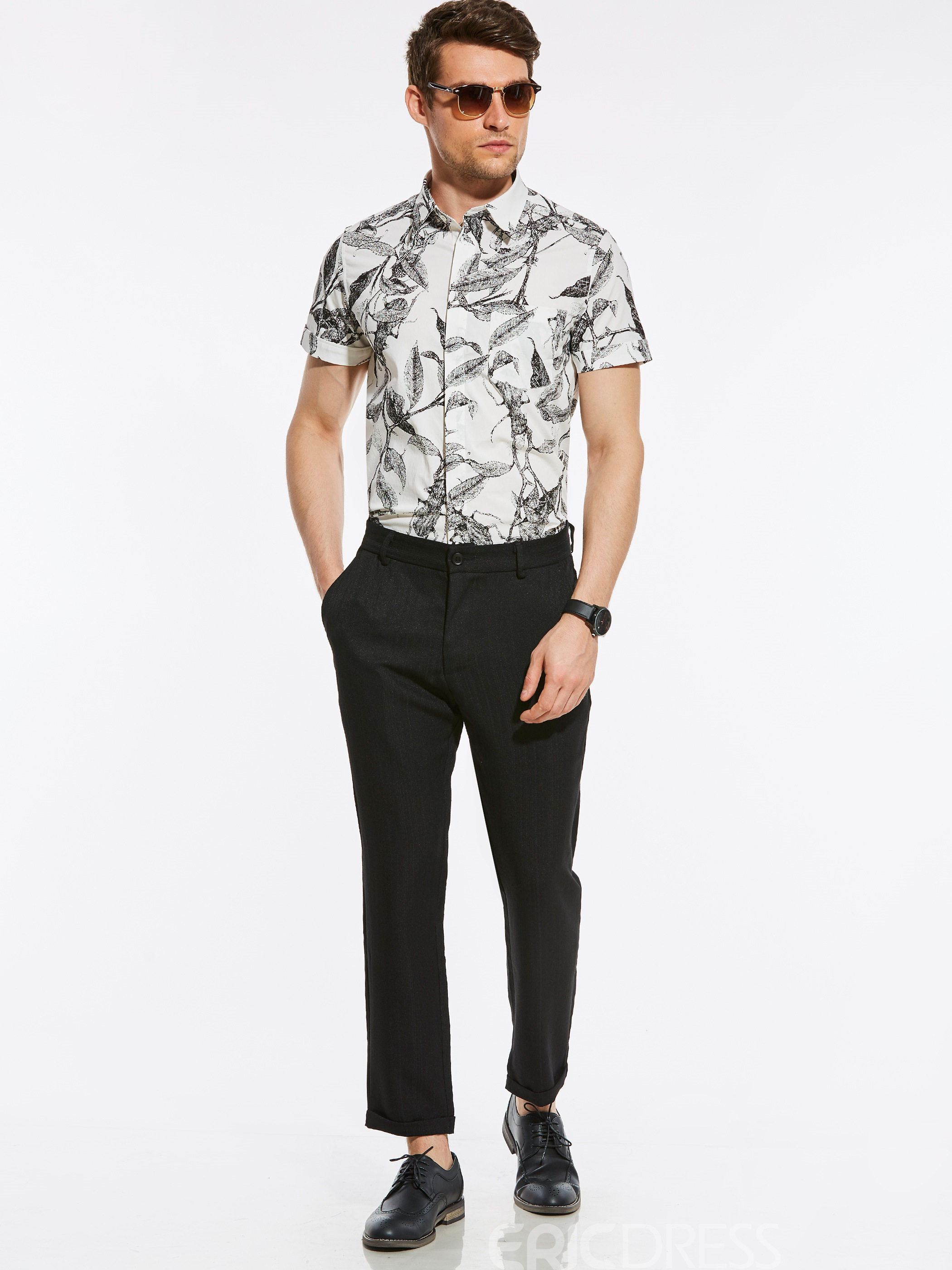 Ericdress Short Sleeve Leaf Print Vogue Slim Men's Shirt