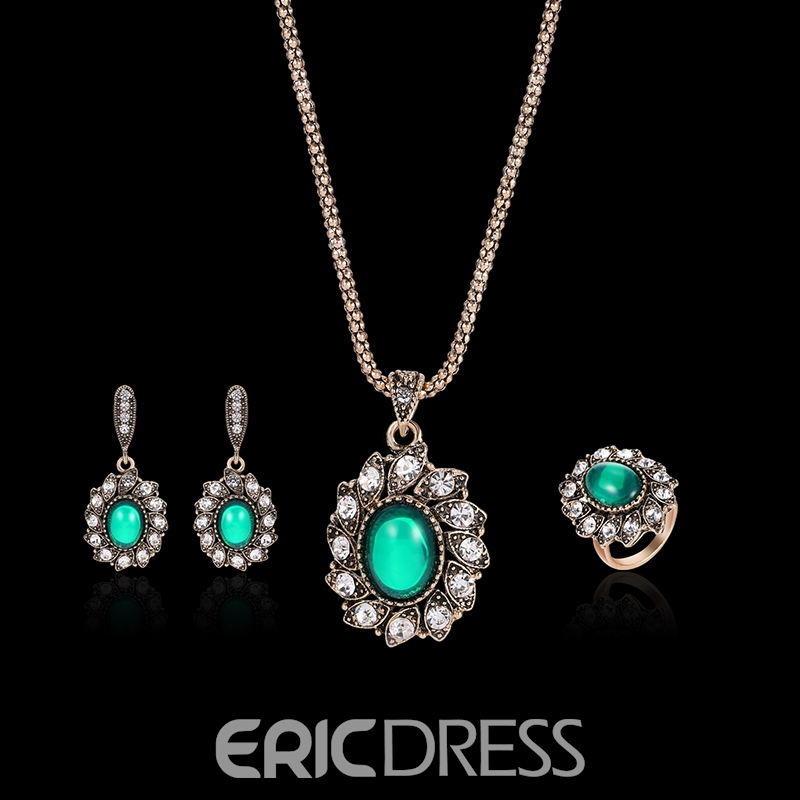 Ericdress Diamante Emerald Pendant Daisy Floral Jewelry Set