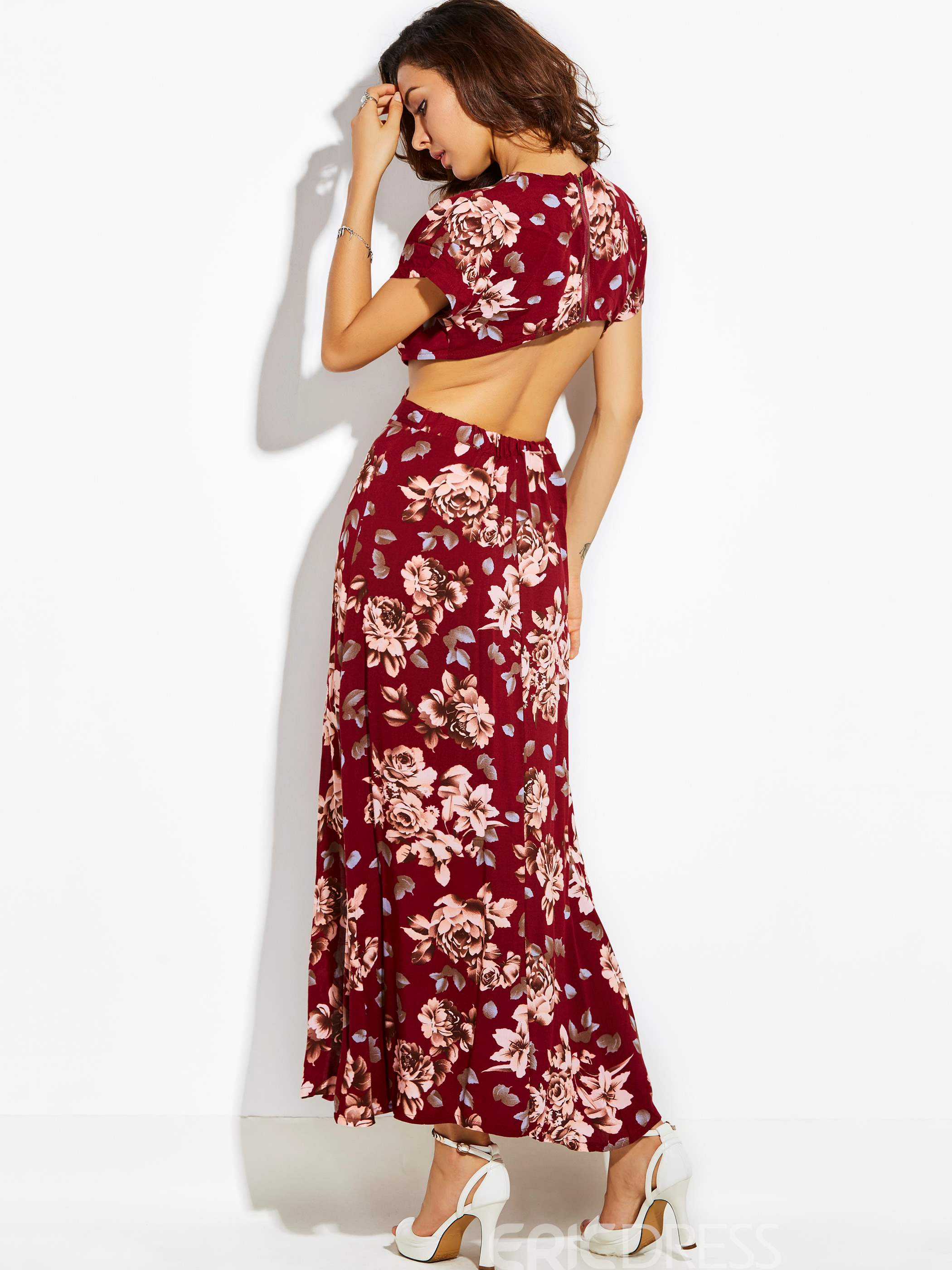 Deep V-Neck Hollow Flower Print Women's Maxi Dress