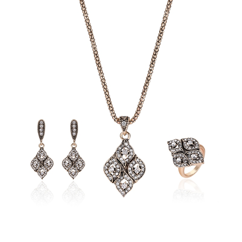 Ericdress Synthetic Diamond Rhombic Pendant Four-Piece Jewelry Set