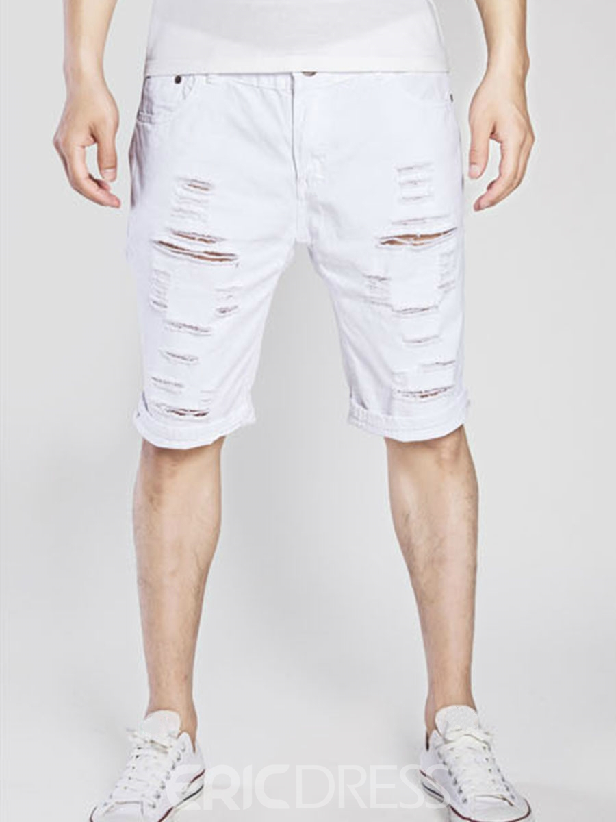 Ericdress Half Leg Plain Holes Denim Men's Shorts