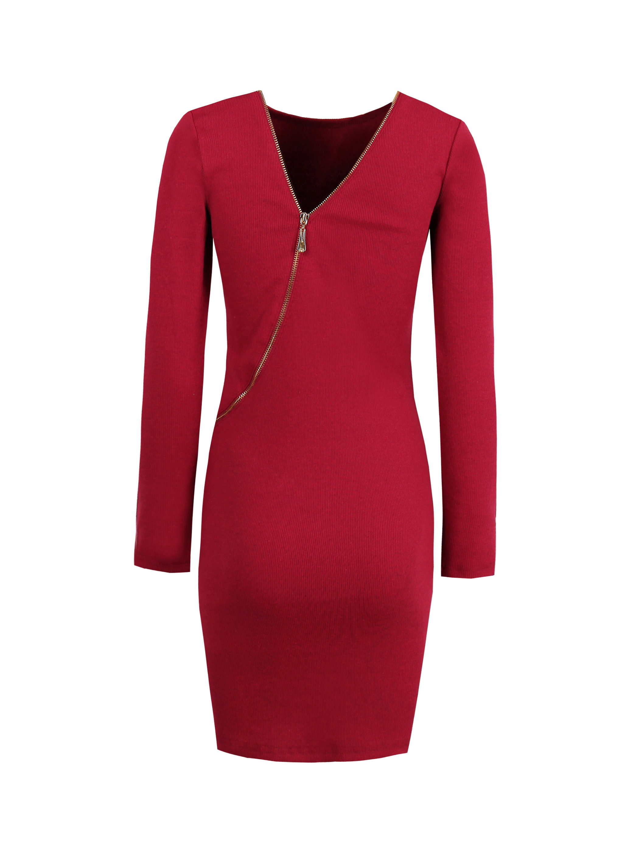 Ericdress Plain Zipper Backless Long Sleeves Sweater Bodycon Dress