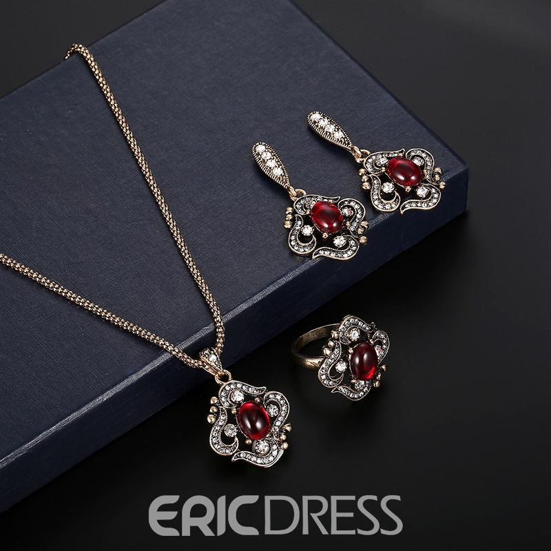 Ericdress Diamante Red Floral Ruby Pendant Jewelry Set