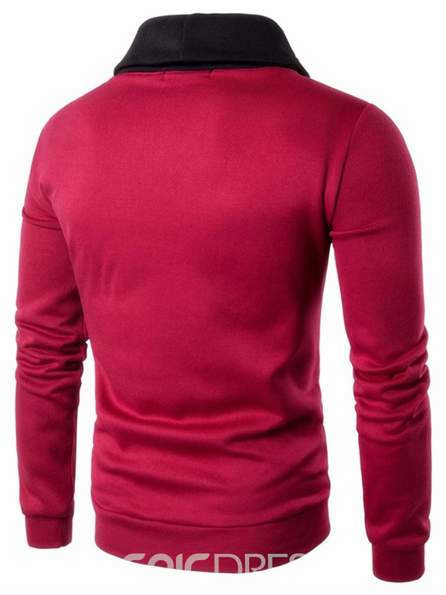 Ericdress Color Block Patched Casual Pullover Men's Hoodie