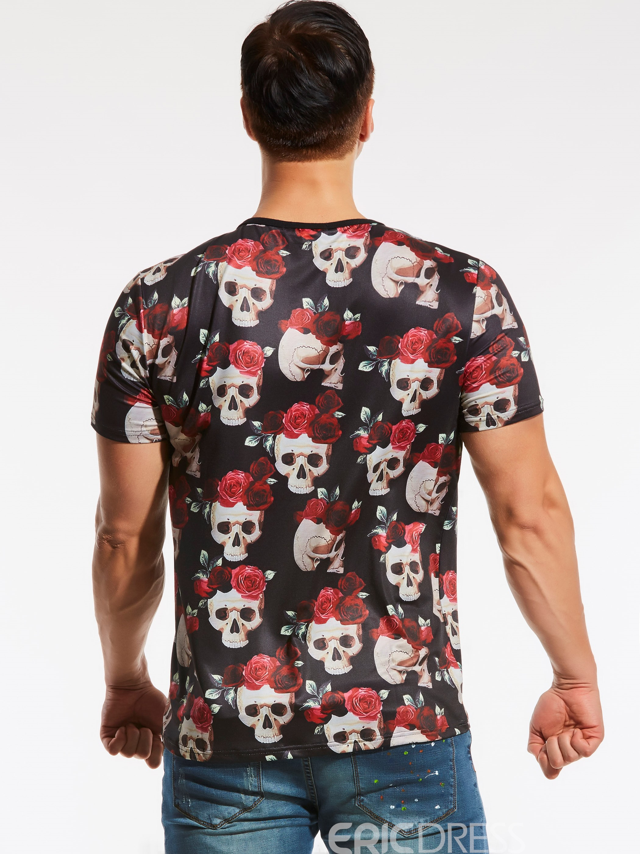 Ericdress Skull Print Unique Short Sleeve Plus Size Men's T-Shirt