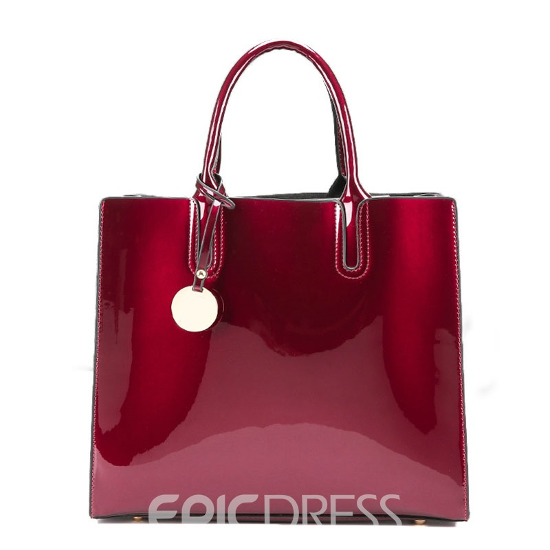 Ericdress Concise Glossy Solid Color Tote Bag