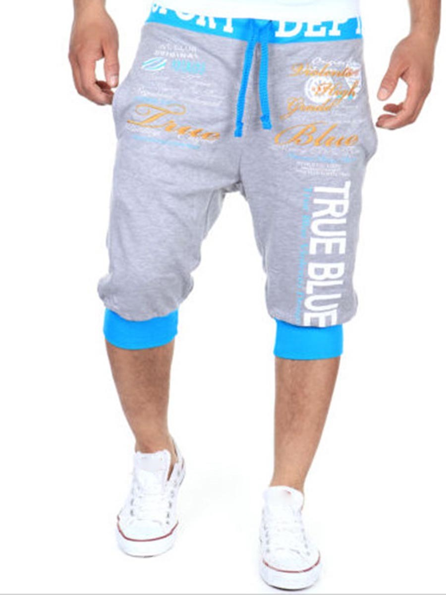 Ericdress Lace-Up Letter Print Casual Sports Men's Shorts
