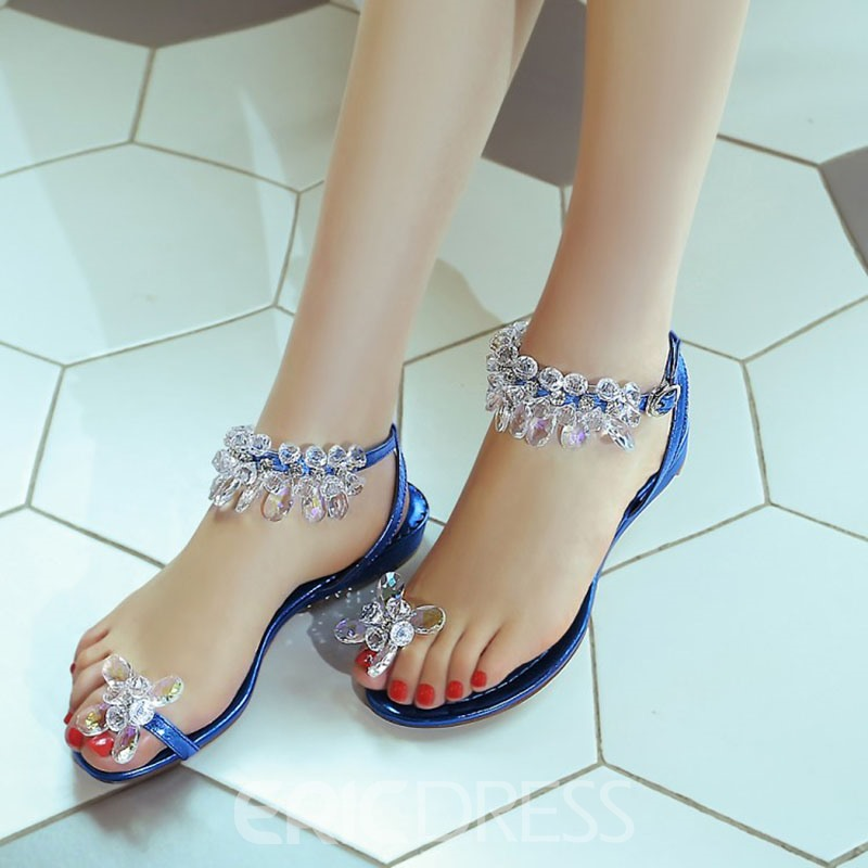Ericdress Sweet Princess Rhinestone Flat Sandals
