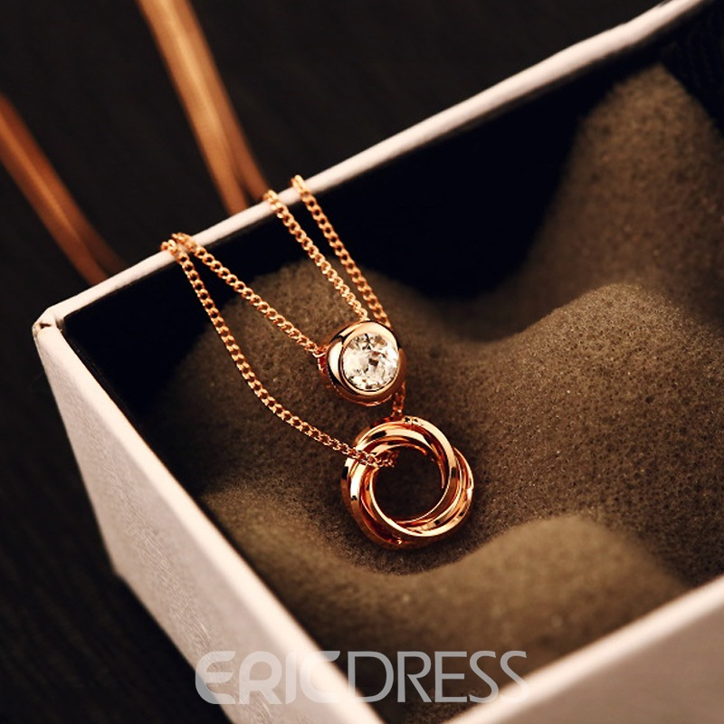 Ericdress Concise Rose Gold Plating Diamante Double Layer Necklace