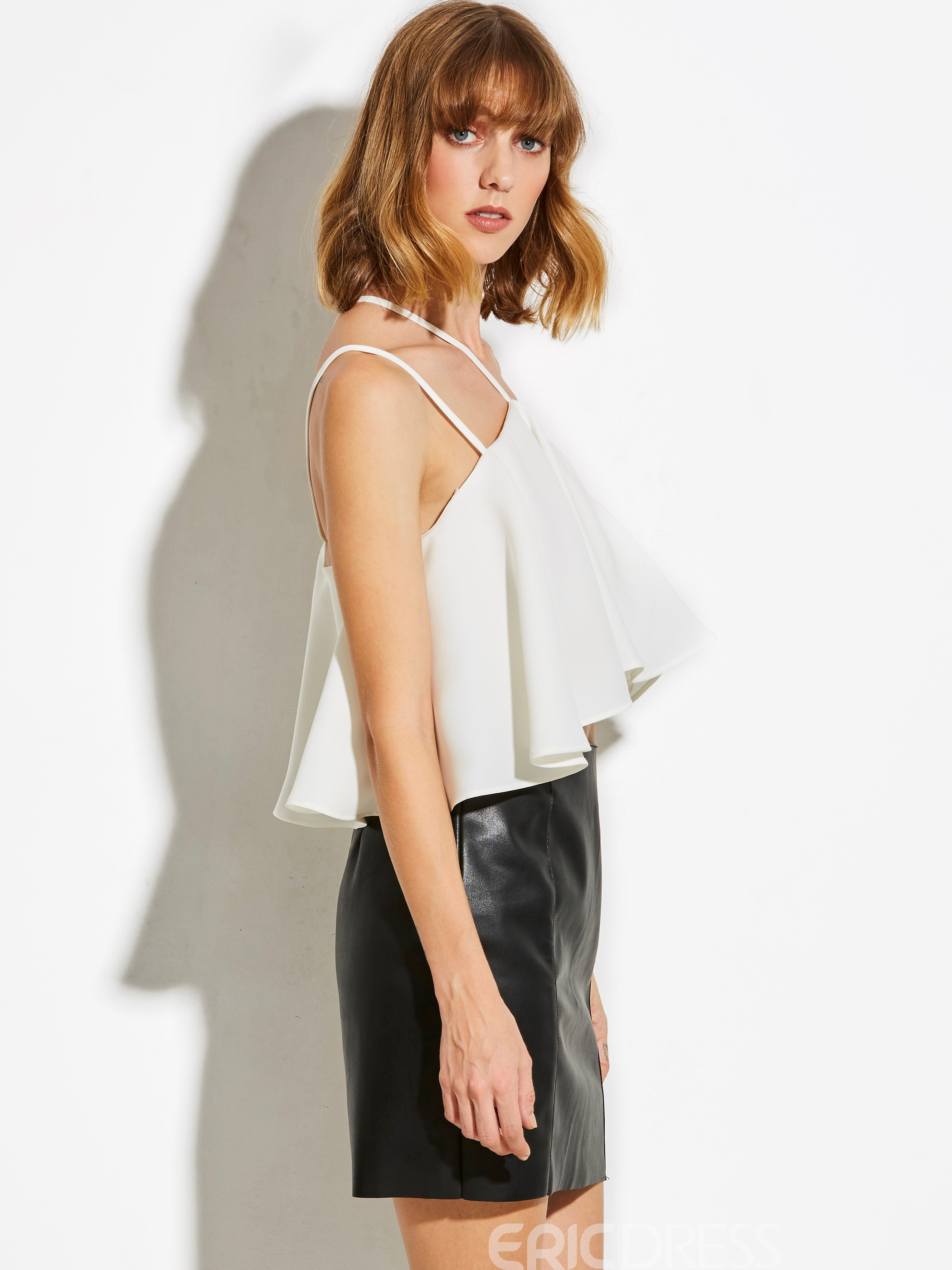 Ericdress Ruffles Backless Slash Neck T-shirt