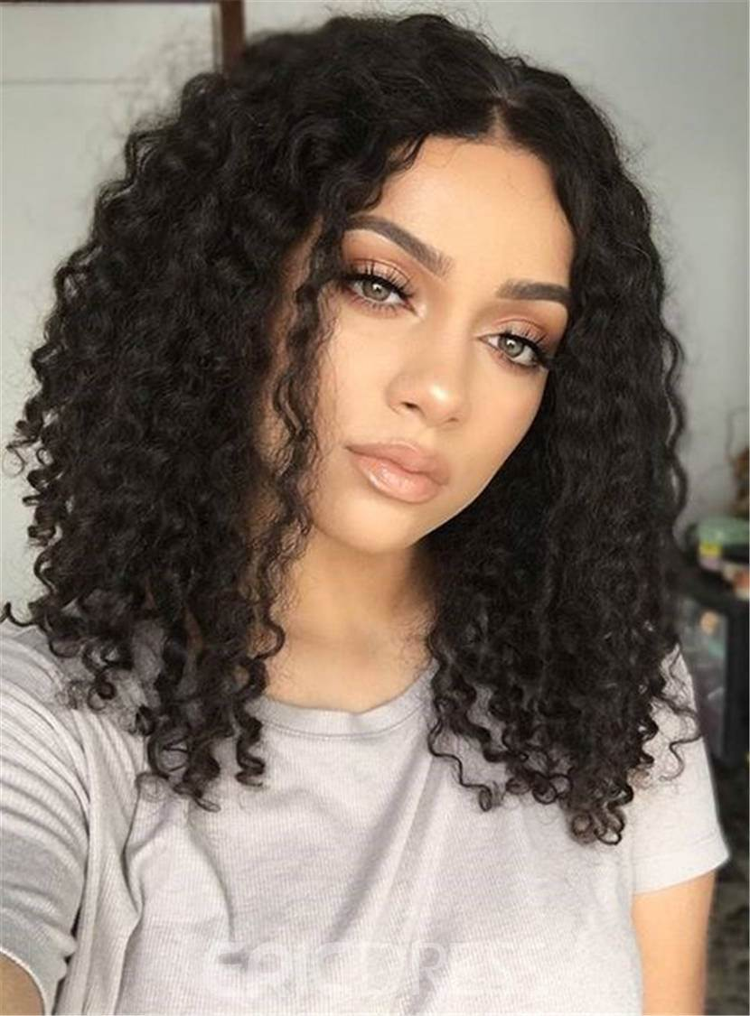 Ericdress Center Part Kinky Curly Medium Synthetic Hair Bob For Round Face Lace Front Cap African American Wigs 14 Inches