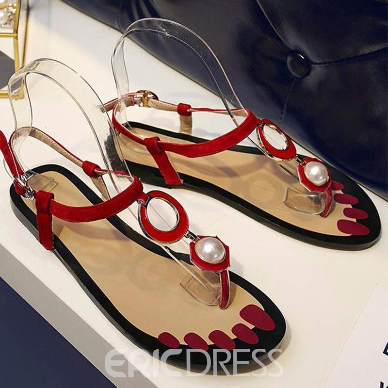 Ericdress Concise Red Thong Flat Sandals