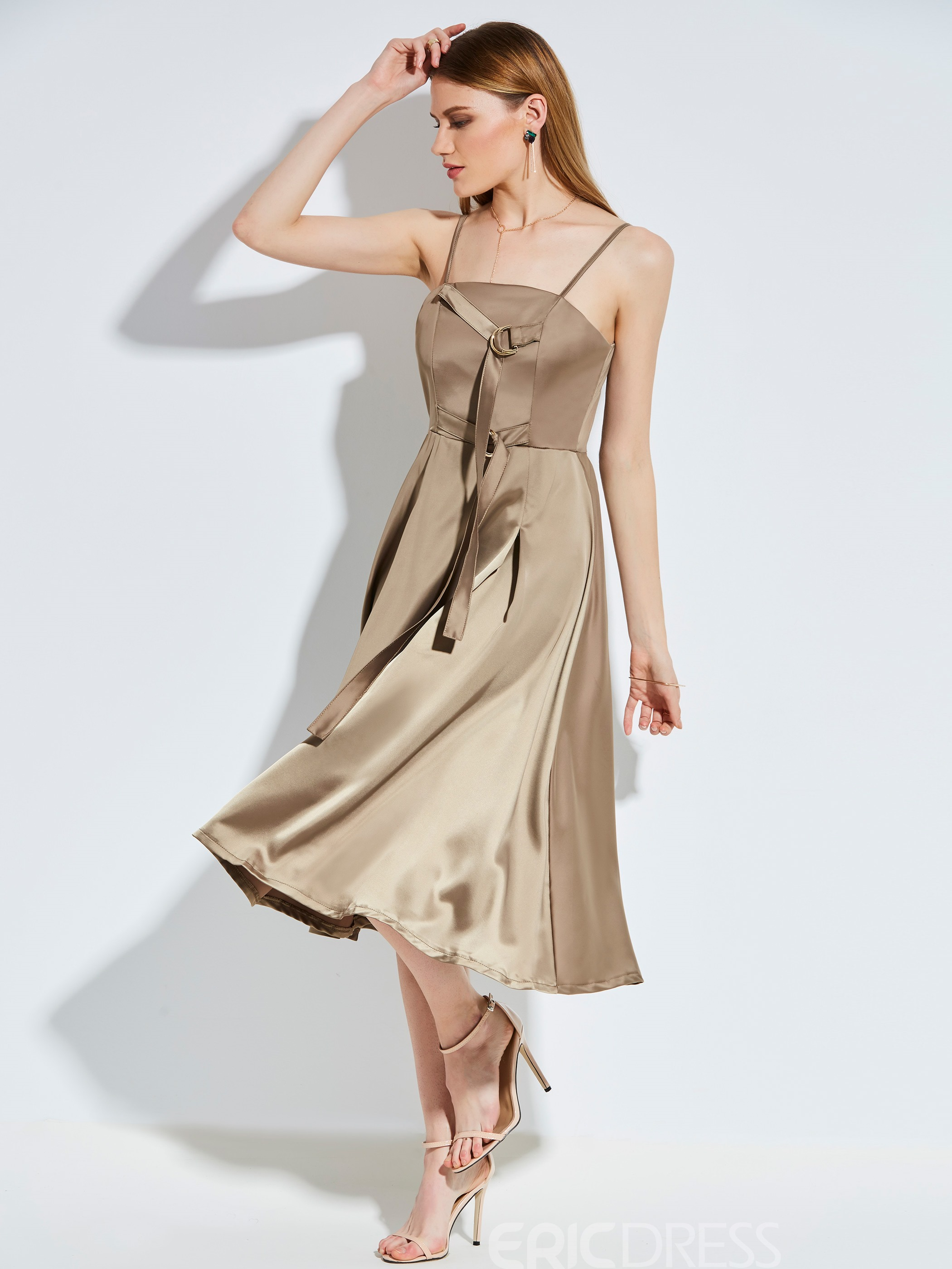 Ericdress Spaghetti Strap Backless Solid Color A Line Dress