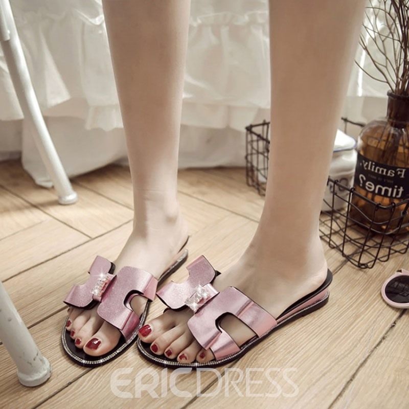 Ericdress Sweet PU Bowtie Decorated Slippers