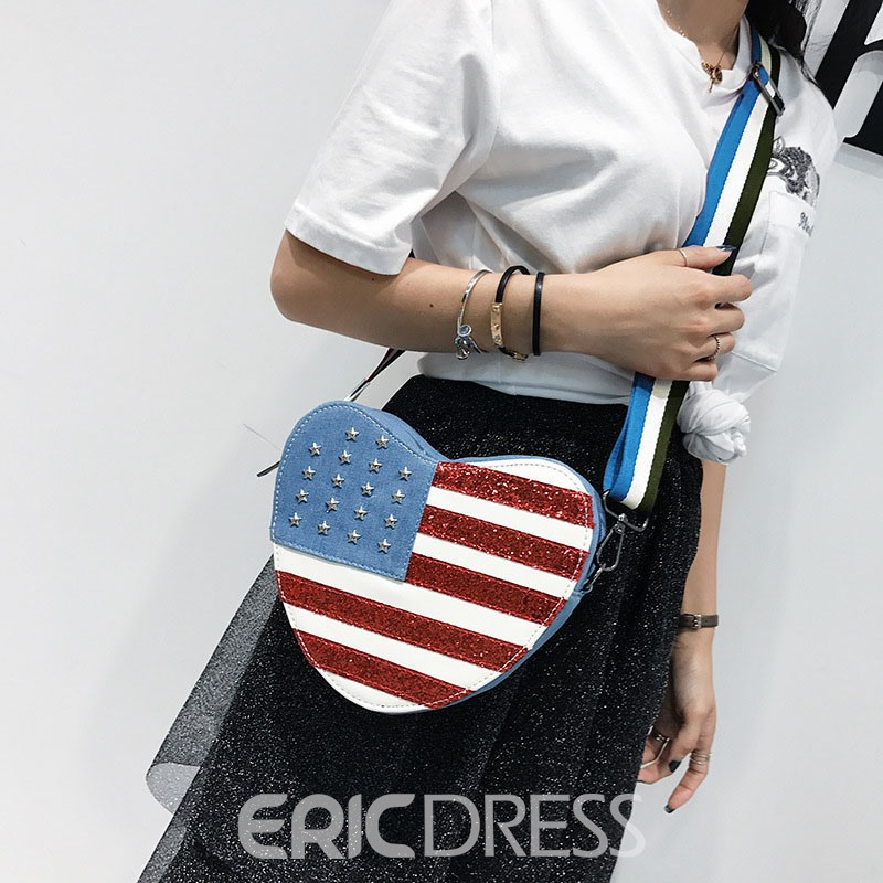 Ericdress Heart-Shaped Stars Stripes Crossbody Bag
