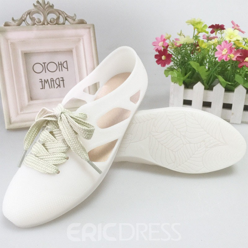 Ericdress Sweet Closed Toe Lace up Jelly Sandals