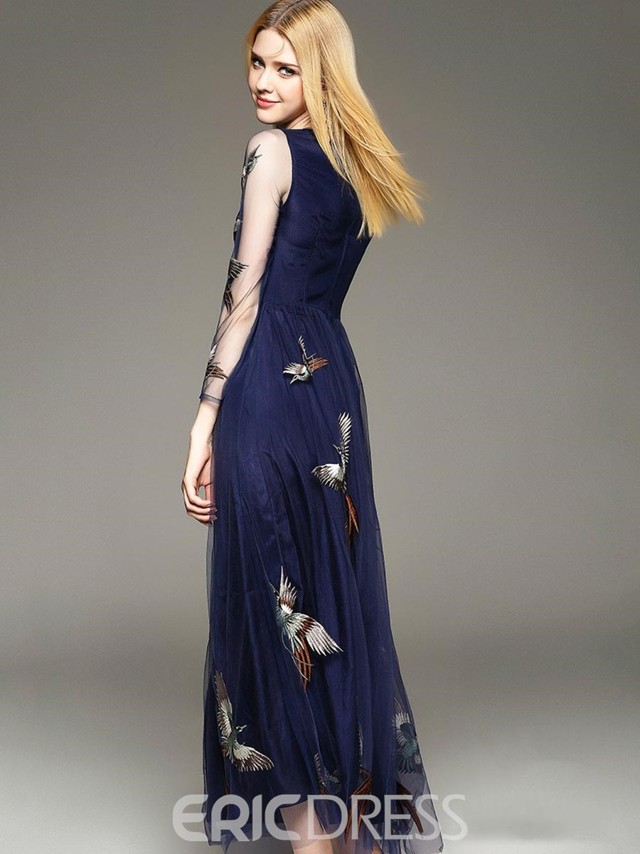 Ericdress Mesh Animal Embroidery Expansion Maxi Dress