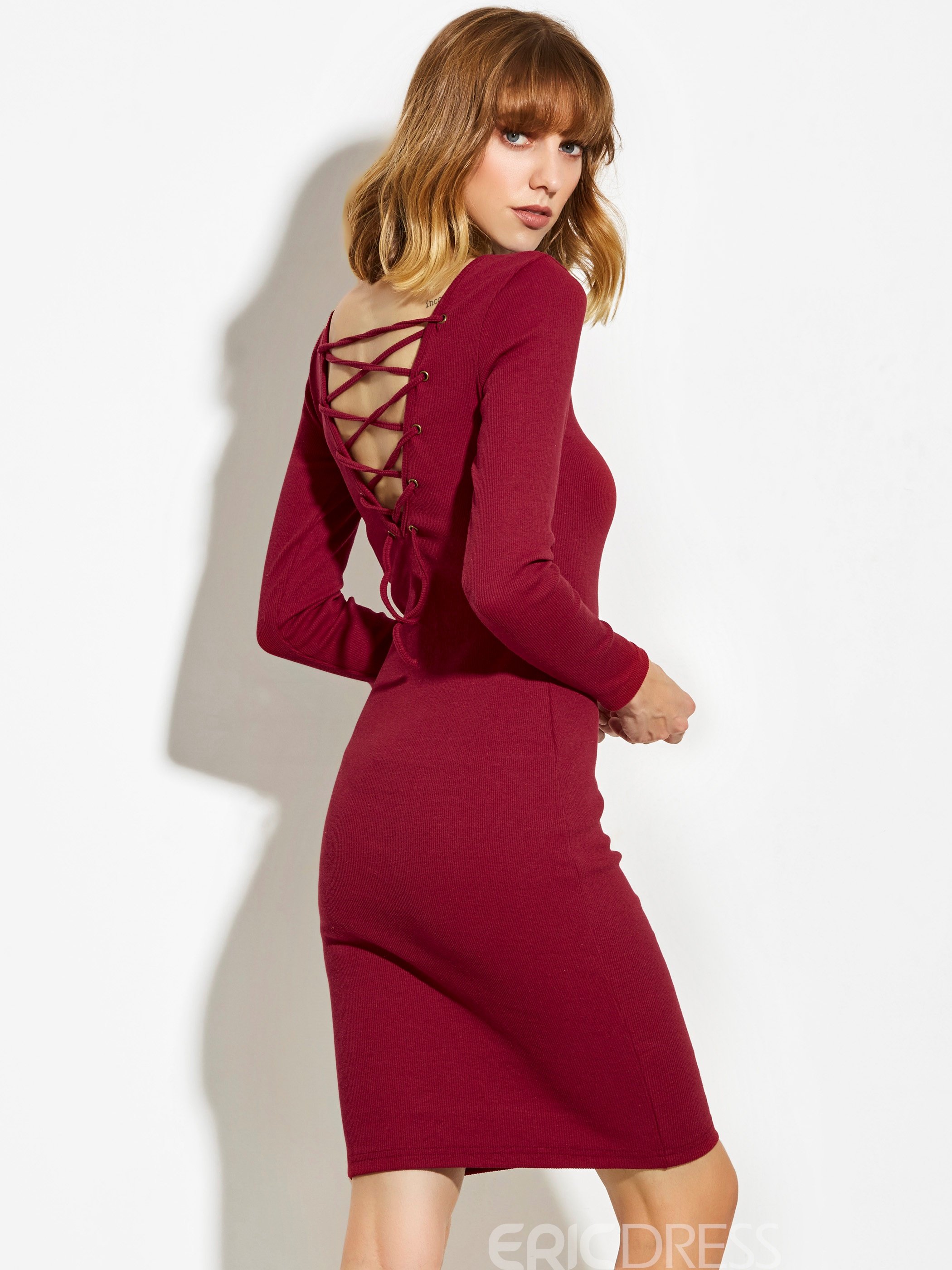 Ericdress Scoop Backless Lace-Up Sweater Dress