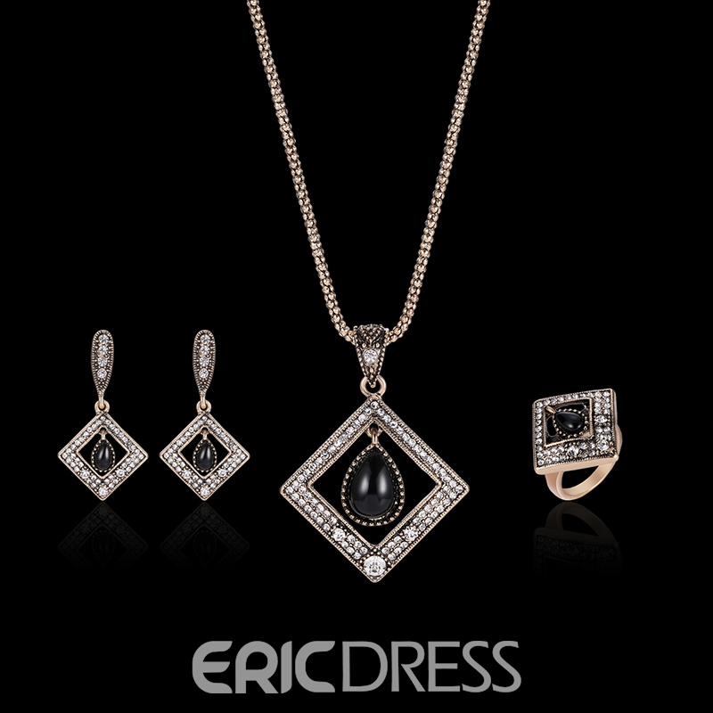 Ericdress Synthetic Diamond Water Droplets Rhombic Pendant Jewelry Set