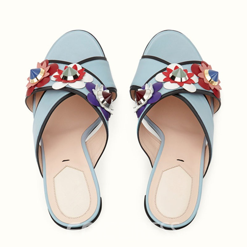 Ericdress Ethnic T Stage Flower&rivets Decirated Mules Shoes