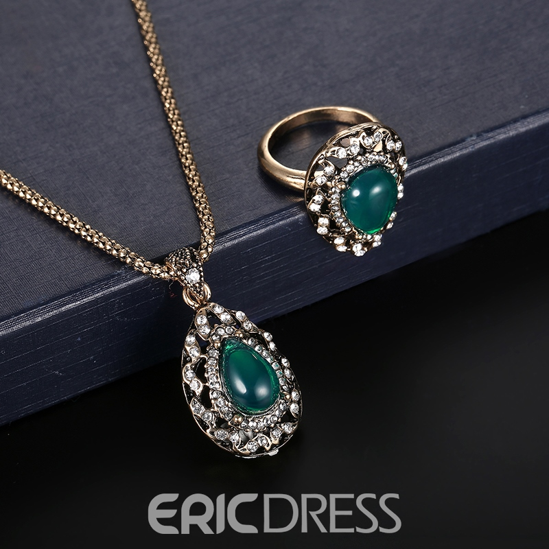 Ericdress Diamante Emerald Pendant Water Droplets Jewelry Set