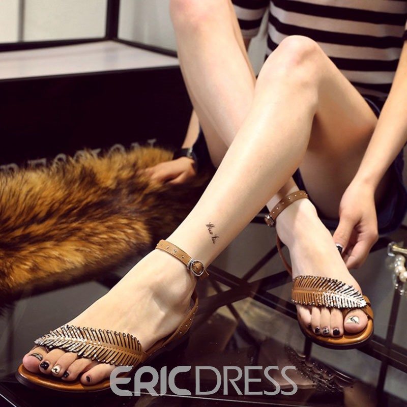 Ericdress Preppy Style Leaf Decorated Flat Sandals