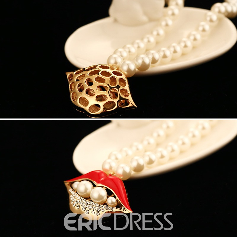 Ericdress Sexy Red Lips Pendant Pearl Necklace