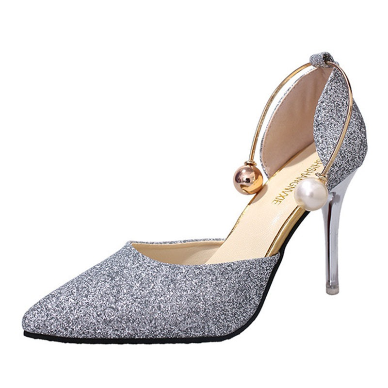 f7bf38b9b2a Ericdress Sequin Plain Pointed Toe Stiletto Heel Pumps with Beads(13161281)
