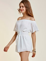 Backless Wide Legs Lace-Up Womens Romper
