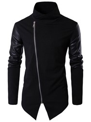 Ericdress PU Knit Patched Stand Collar Slim Mens Hoodie фото
