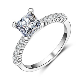 Ericdress Princess Cut Four-Claw S925 Sterling Silver Wedding Ring