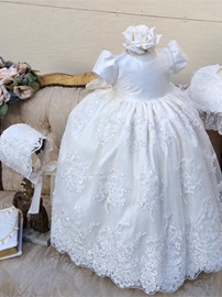 Ericdress Ball Gown Lace Short Sleeves Baby Christening Gown