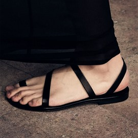 Ericdress Leather Strappy Toe Ring Flat Sandals