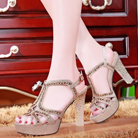 Ericdress Peep Toe Rhinestone Chunky Sandals with Buckle