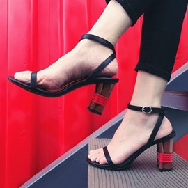 Ericdress Open Toe Color Block Chunky Sandals