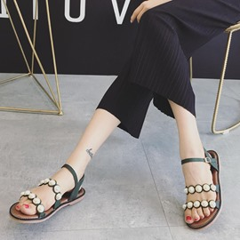 Ericdress Open Toe Ankle Strap Flat Sandals With Beads