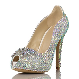 Ericdress Peep Toe Rhinestone Stiletto Heel Wedding Shoes