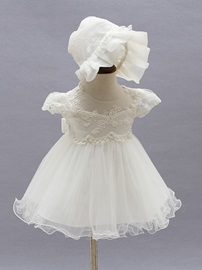 Ericdress Tulle A Line Cap Sleeves Christening Dress