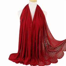 Ericdress Hollow Out Pearl Muslim Women's Scarf