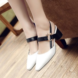 Ericdress Square Toe Strappy Chunky Sandals
