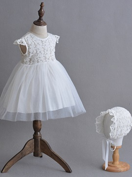 Ericdress Ball Gown Lace Cap Sleeves Christening Dress