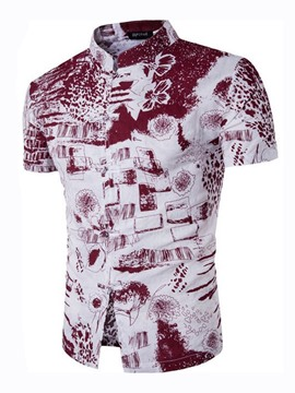Ericdress Vintage Unique Button Short Sleeve Print Men's Shirt