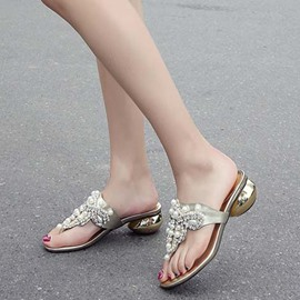 Ericdress Thong Slip-On Mules Shoes with Beads