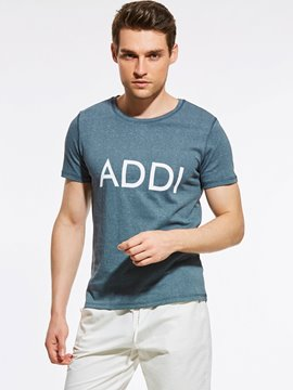 Ericdress Plain Letter Print Short Sleeve Quality Men's T-Shirt