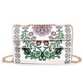 Ericdress Colorful Floral Printing Chain Crossbody Bag