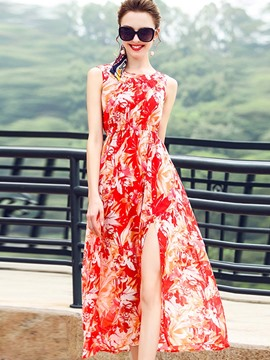 Ericdress Floral Print High-Waist Slit Maxi Dress