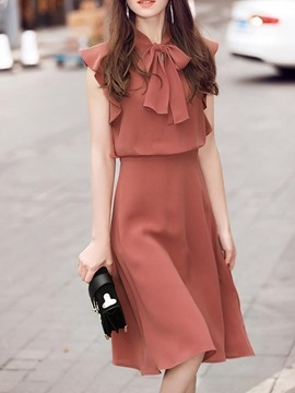 Ericdress Brick Red Bowtie Cap Sleeve A Line Dress